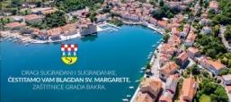 Čestitka za blagdan sv. Margarete, zaštitnice Grada Bakra